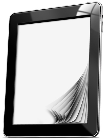 Black tablet computer with blank pages on white background