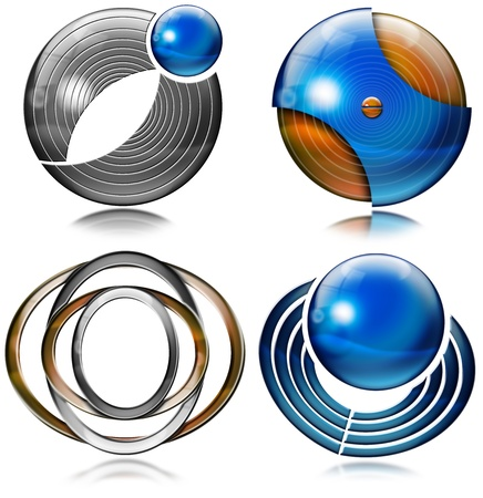 Set of elements for logo design with spheres, circles and ovals photo