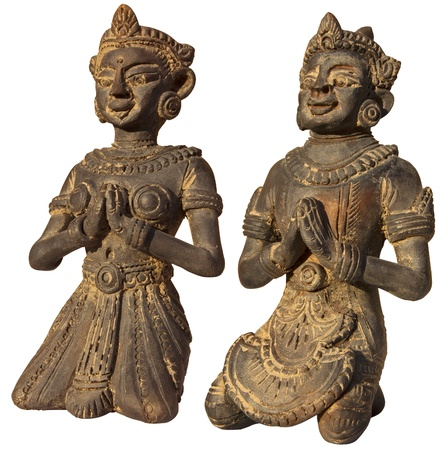 reverential: Due piccole sculture della Birmania (Myanmar) dell'uomo e della donna nella preghiera - Buddismo