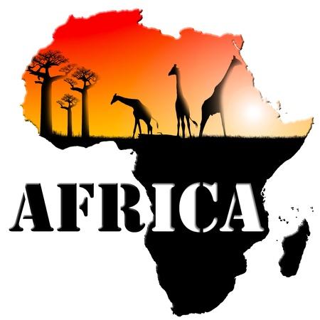 continente africano: África del mapa con el paisaje colorido de la fantasía, con la hierba, los árboles baobab y las jirafas