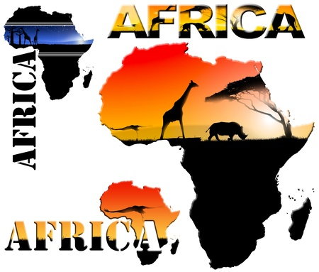 Set map with colorful landscapes of fantasy and written Africa photo