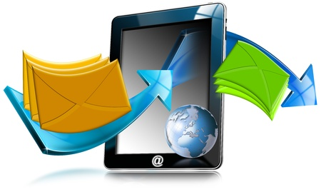 network marketing: Tablet computer e-mail marketing concept with Globe, arrows and envelopes Stock Photo