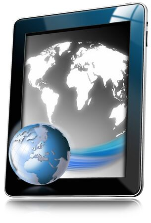 orientate: Illustration of tablet computer with world map and earth globe on white background Stock Photo