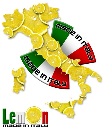 Italian territory with slices of lemon and italian flag, made in Italy with a written photo