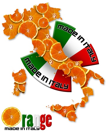Italian territory with slices of orange and italian flag, made in Italy with a written photo