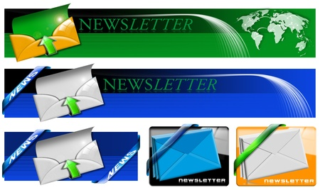 Four newsletter concept banner with envelopes, arrows and corners on white background photo