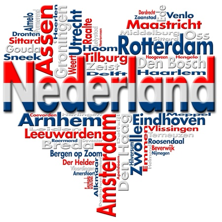 Written Nederland and Dutch cities with heart-shaped, Dutch flag colors