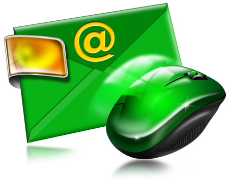 E-mail marketing concept with mouse on white background photo