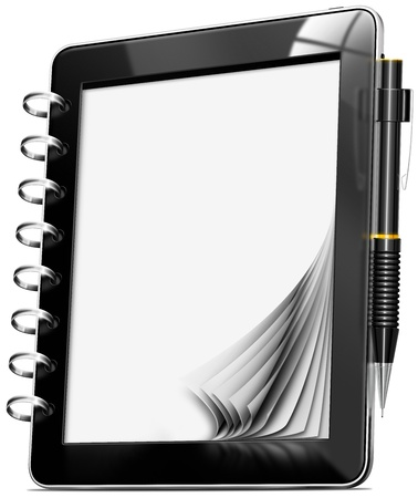 memo pad: Black tablet computer memo pad with blank pages and propelling pencil