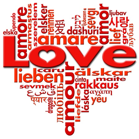 Love written in major languages of the world in the shape of heart Archivio Fotografico