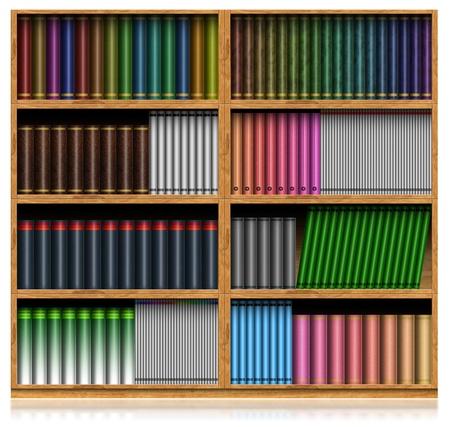 bookcase: Wooden Bookshelf Isolated On White