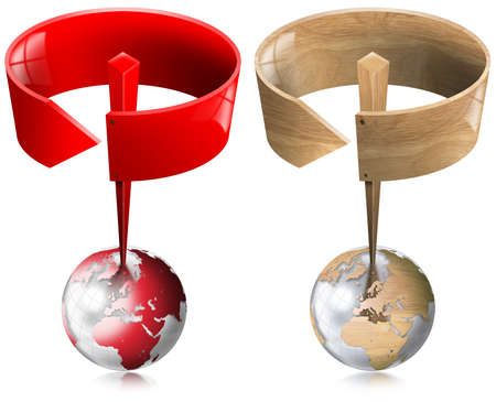 Two traffic signal, red and wood, with circular arrow on top of a globe photo