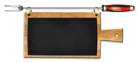 Kitchen blackboard shaped cutting board supported by a metal fork