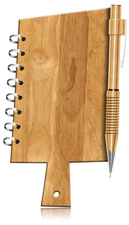 Blank wooden notebook shaped cutting board, with metal rings and propelling pencil photo