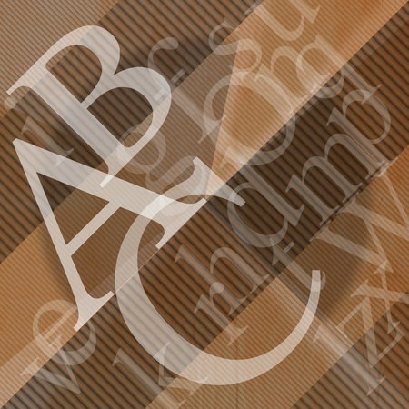 Illustration with scattered letters of the alphabet of wavy brown background illustration