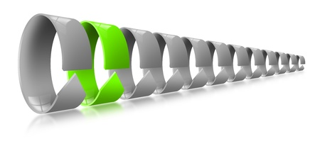 Gray and green circular arrows, concept of uniqueness and leader photo