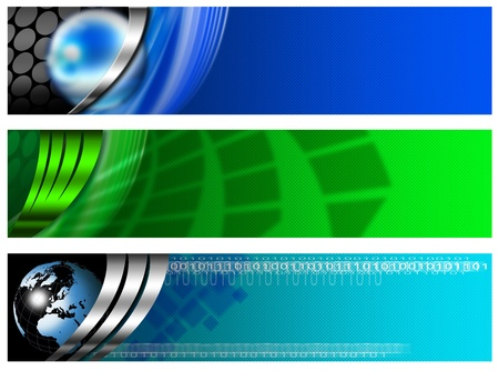 Three technological banners or backgrounds with globe and abstract forms