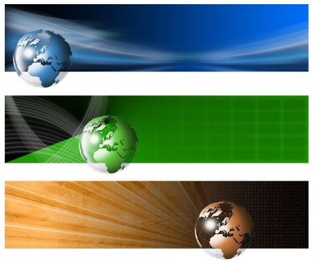 Three technological banners or backgrounds with globe and shades