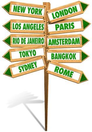 agencia de viajes: Se�ales de madera con flechas para mostrar las ciudades m�s populares en el mundo Foto de archivo