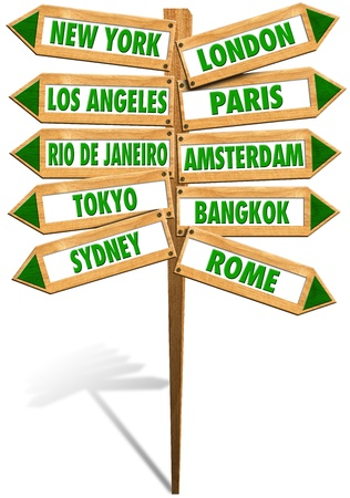 Wooden signs with arrows to show the most popular cities in the world photo