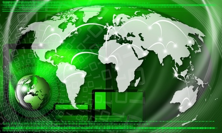 Green background with globe, global business connection and binary code photo