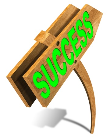 Arched wooden sign with written success and arrow Stock Photo