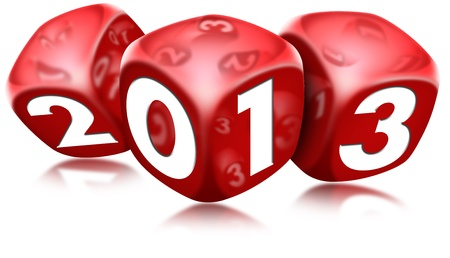 Dice 2013 Happy New Year Stock Photo