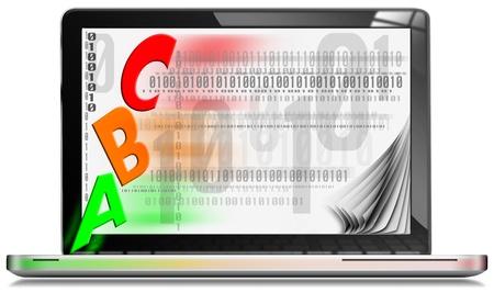 bin�rcode: ABC Computer - Silber Laptop mit schriftlicher abc auf dem Bildschirm und Bin�r-Code