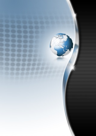 Blue and black business background with blue globe photo