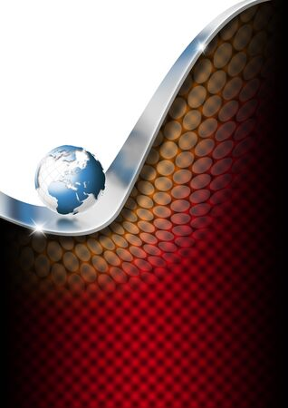 Red, and black business background with blue globe photo