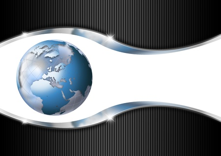 Blue and black business background with blue globe