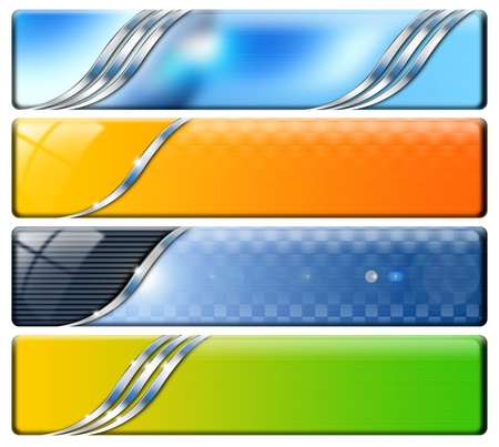 Set of technological banners or backgrounds, blue, orange and green Stock Photo
