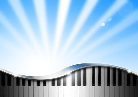 letras musicales: Fondo moderno musical con teclas de piano y accesorios en cromo Foto de archivo
