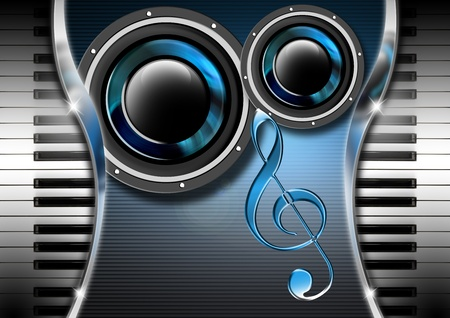 Modern musical background with piano keys and loudspeakers photo