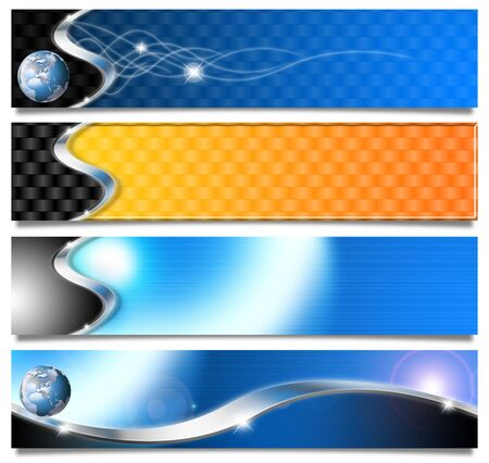 Four technological banners or backgrounds with shadows and reflections