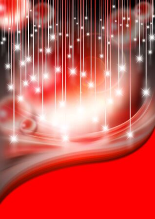 flyer: Red Christmas background with stars and sparkles Stock Photo