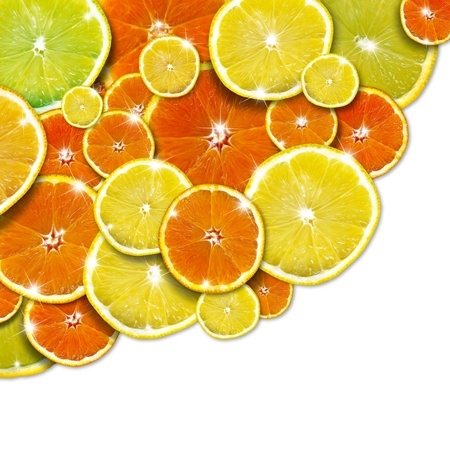 Background with slices of orange and lemon and reflections photo