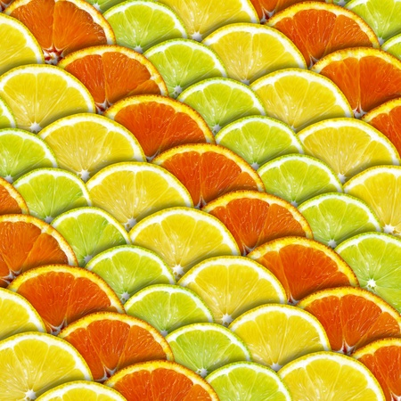 Background with slices of lemon and orange photo