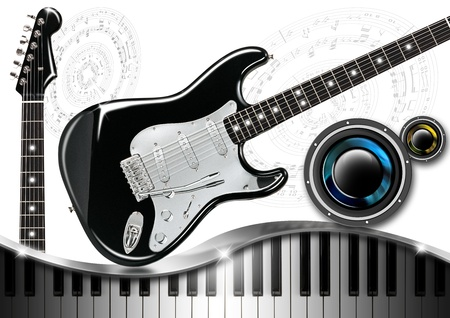 woofer: Musical background with piano keys, guitar and woofer Stock Photo