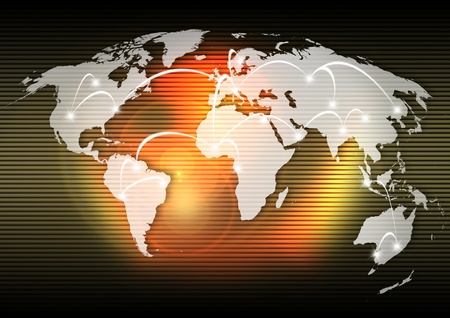 Background with map globe, global business connection