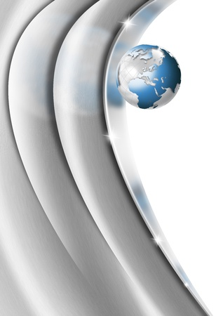 Metal Heart Globe Business Background photo