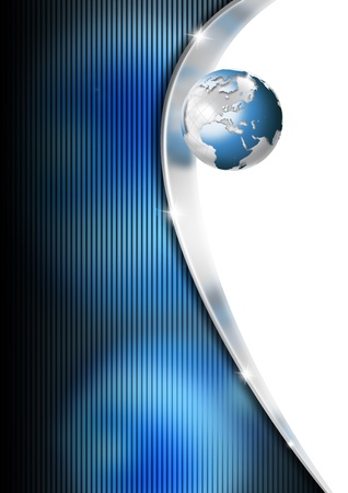 Metallic and blue template background with earth globe photo