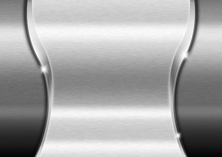 cromo: Metal fondo de la plantilla con la onda y las reflexiones