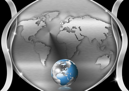Metallic and black background with earth map and globe photo