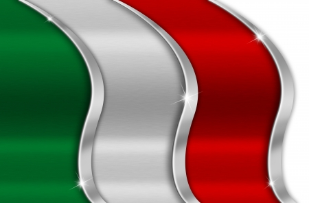 italian politics: Italy Metal Flag, Green white and red background national italian metal flag