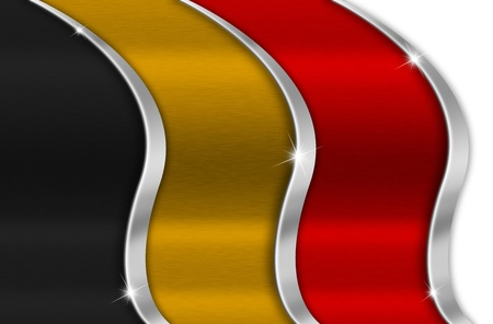 iron curtain: Black orange and red background national belgian metal flag