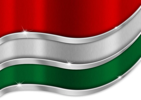 Red white and green background national hungarian metal flag photo