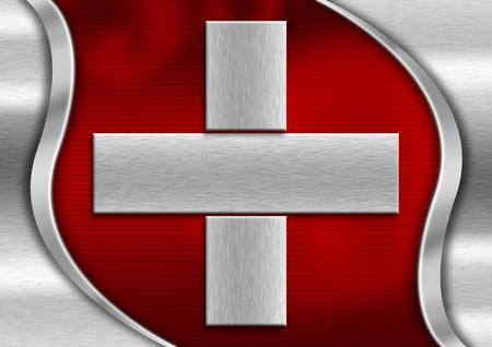 Red and metal background national swiss metal flag Stock Photo - 13486835