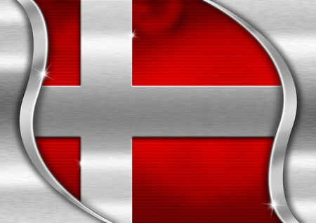 Red and metal background national danish metal flag photo