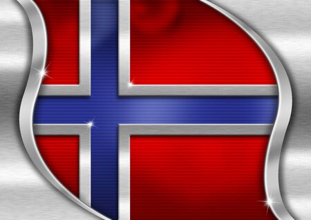 Red blue and metal background national norwegian metal flag photo